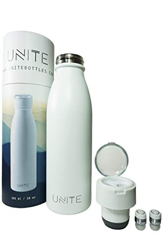 HBF Unite 3 in 1 Smart Water Bottle. Wireless Earbuds, Charging Lid and Stainless Steel Water Bottle (White)