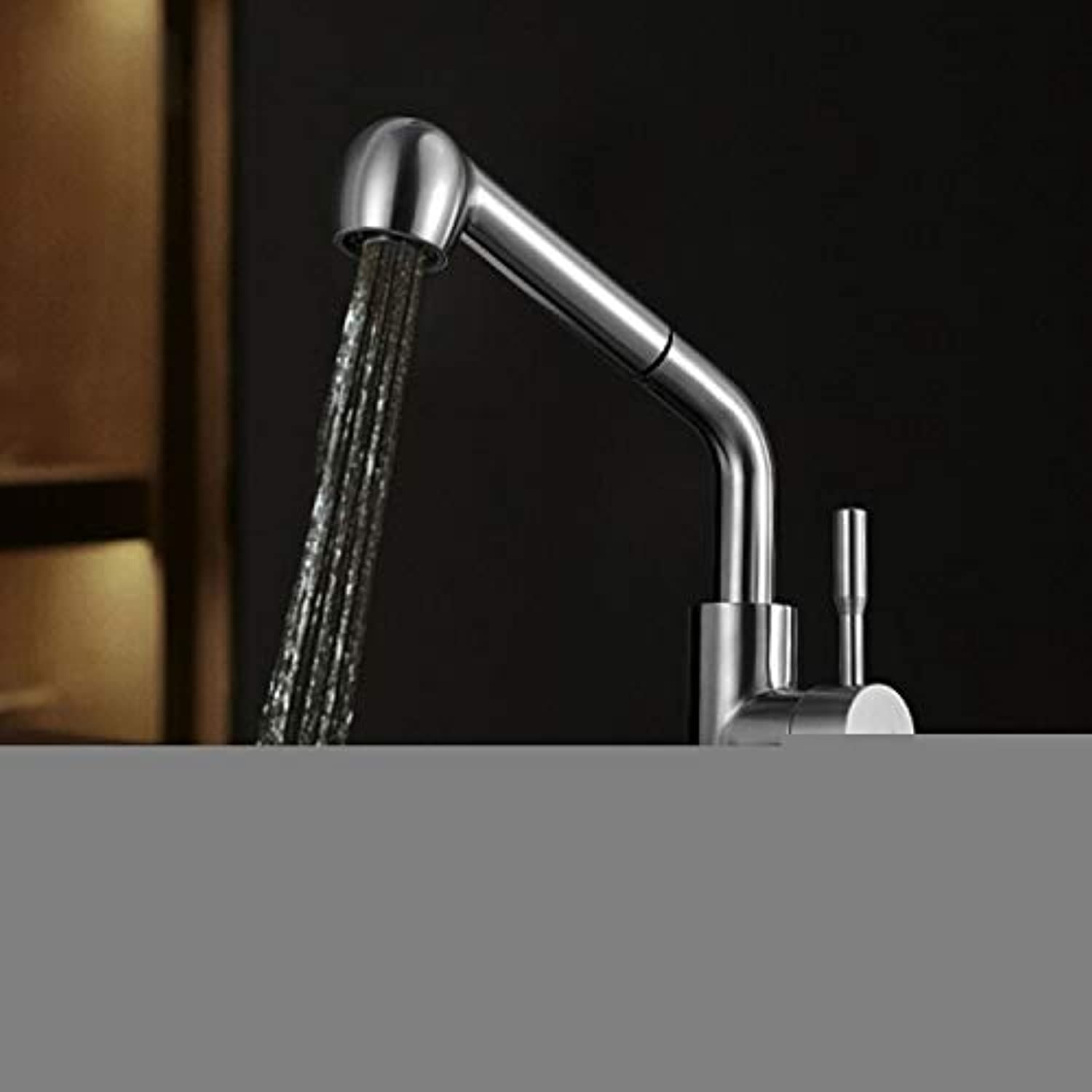 Commercial Single Lever Pull Down Kitchen Sink Faucet Brass Constructed Polished ?Brushed Faucet Kitchen Faucet Sink Basin Faucet Stainless Steel Faucet