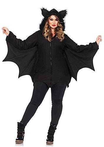 Leg Avenue 85311X - Cozy Bat Damenkostüm Schwarz Karneval Kostüm Fasching Halloween, 1XL/2XL (EUR 46-50)
