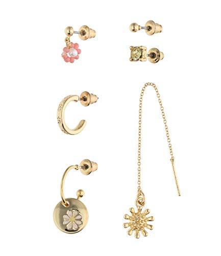 SIX Trendy 647-728 - Juego de pendientes de aro con cristales y diseño de flores para mujer