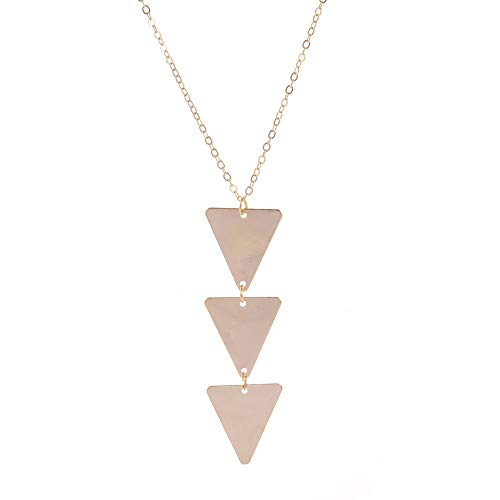 NOLOGO Accesorios de Mujer joyería Simple de Metal Collar Largo triángulo Colgante Collar Partido Jewelr (Color : Golden)
