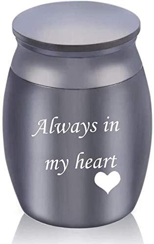 JLXQL Urnas para Cenizas Medianas Siempre en mi corazón Cenizas humanas Urnas funerarias para Perros Contenedor de ataúdes Mini pequeños Recuerdos de Aluminio para Mascotas Cat - Black_30x40mm