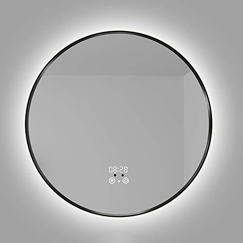 GETZ Espejo de Baño Redondo con Iluminación LED con Marco de Aluminio, Antiniebla Luz LED Baño Maquillaje Inteligente Espejo, Sensor Táctil Brillo Ajustable Temperatura de Cambio de Color, Negro