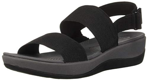 Clarks Women's Arla Jacory Wedge Sandal, Black Solid, 9 M US