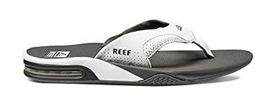 Reef Men's Sandals Fanning | Bottle Opener Flip Flops For Men, Grey/White, 13