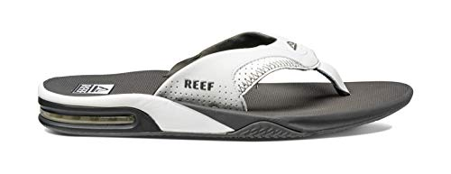 Reef Men's Sandals Fanning | Bottle Opener Flip Flops for Men with Arch Support | Grey/White | Size 11