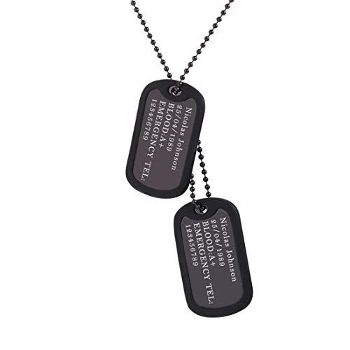 U7 Halskette Erkennungsmarken Schwarz Kugelkette personalisiert Namen Dog Tag Anhänger mit Silikon Rahmen 60cm Kette Unisex Armee Stil Schmuck für Damen Herren Geburtstagsgeschenk