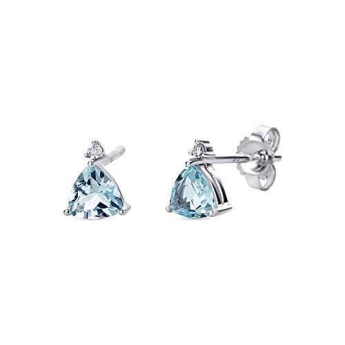Miore Ohrringe Damen Weißgold 9 Karat / 375 Gold Ohrstecker mit Edelstein/Geburtsstein Aquamarin und 0.80 ct Diamant Brillianten 0.02 ct