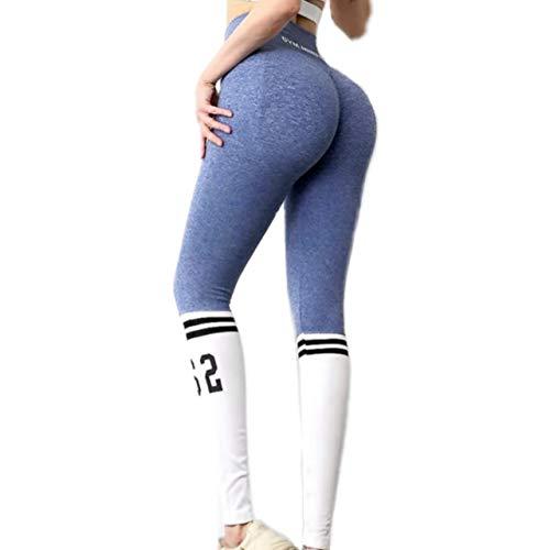 Leggins Push up, Leggins Mujer, Mallas Deportivas Mujer, Cintura Alta para Reducir Vientre. Leggins para Yoga, Fitness. (Azul, S)