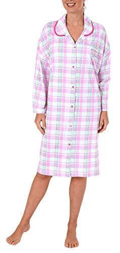 Normann Damen Nachthemd Kurzarm zum durchknöpfen in Übergrößen - 52600, Farbe:rosa, Größe2:56/58