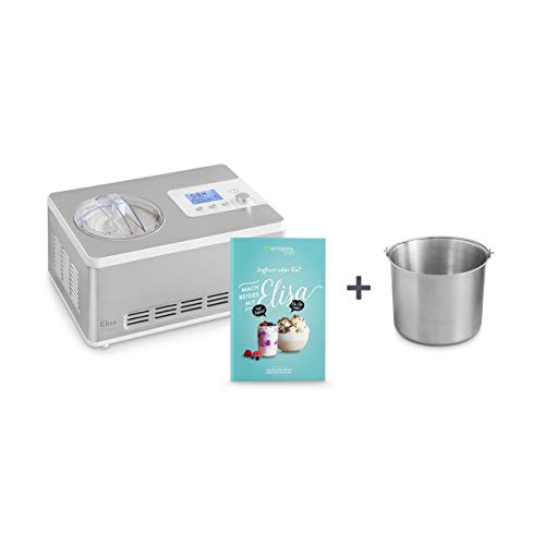 Eismaschine & Joghurtbereiter Elisa 2,0 L mit selbstkühlendem Kompressor 180W inkl. Edelstahl Zusatzbehälter, aus Edelstahl mit Kühl- und Heizfunktion, inkl. Rezeptheft