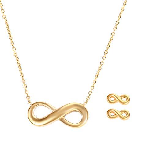 Gkmamrg Infinity Halsketting voor dames, goudkleurig, verguld, 18 karaats hartvormige hanger met zirkonia, verstelbare ketting, 50 cm