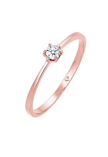 DIAMORE Ring Damen Solitär Verlobung mit Diamant (0.10 ct.) in 750 Roségold