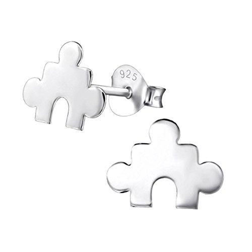 Laimons Pendientes para mujer Pieza de puzle plana Brillante Plata de ley 925