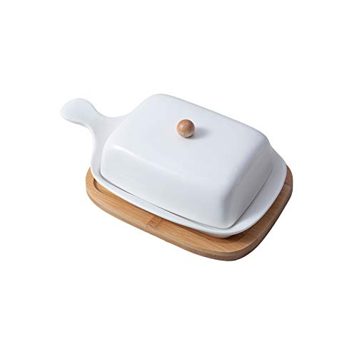 Kasachoy Mantequilla de cerámica, manteca cubierta de porcelana, soporte de mantequilla desmontable con mango de tapa y diseño de alfombrilla de bambú, para el hogar, cocina, restaurante, cafetería