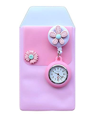 Black Temptation Reloj de Enfermera retráctil Reloj de Bolsillo con Clip portátil Reloj de Bolsillo con diseño de Dibujos Animados Lindo Reloj de Enfermera con Segunda Mano para médico Flor, F11