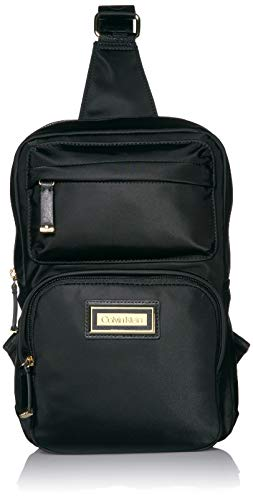 Calvin Klein Belfast Nylon Sling Backpack, Black/Gold