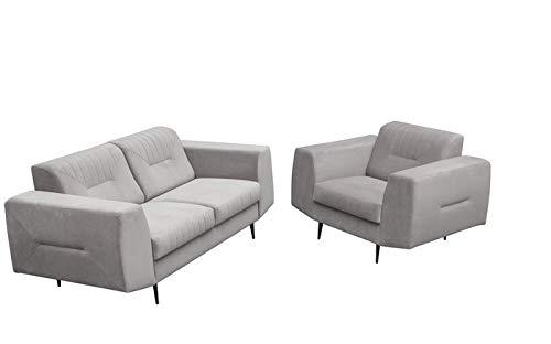 MOEBLO Polstergarnitur Sofa 2 Sitzer und Sessel Sofa Couch Garnitur Stoff Samt (Velour) Glamour Wohnlandschaft 2+1 - Treviso (Hellgrau)
