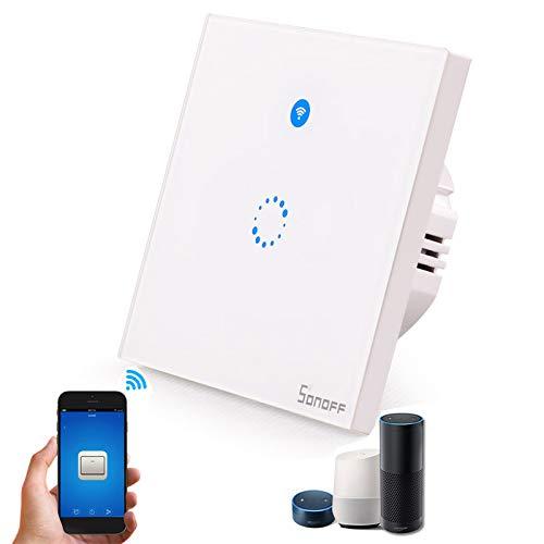 SONOFF T1 EU Smart WiFi Interrupteur Mural 1/2 Gang 86 Type Panneau Tactile écran avec Télécommande Sans Fil soutien Android et IOS APP pour Smart Home (T1-EU-1GANG)