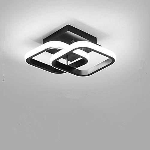Osairous Plafonnier LED Moderne 22 W en Acrylique à 2 LED carrées, pour Salle à Manger, Cuisine, Studio, lumière Blanche froide/6000K (Noir)