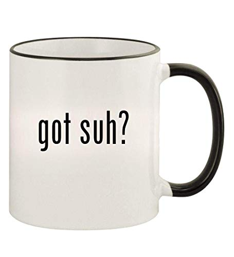 got suh? - 11oz Colored Rim and Handle Coffee Mug, Black