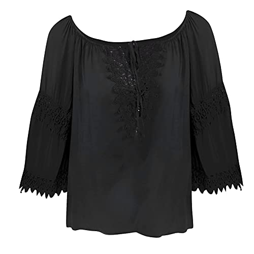 Wave166 Blusa sexy para mujer, hombros descubiertos, camiseta de manga 3/4, de encaje, patchwork, camisas abovedadas, ligeras, de algodón y lino, Negro , S