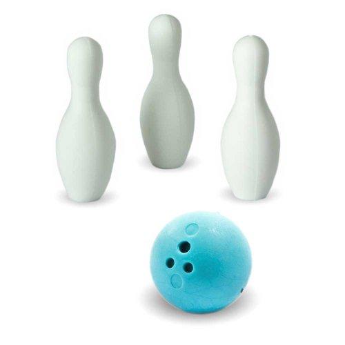 Iwako Puzzle Radiergummi zum Sammeln Bowling Kugel 3 Bowling Kegel Pins und Sticker blau