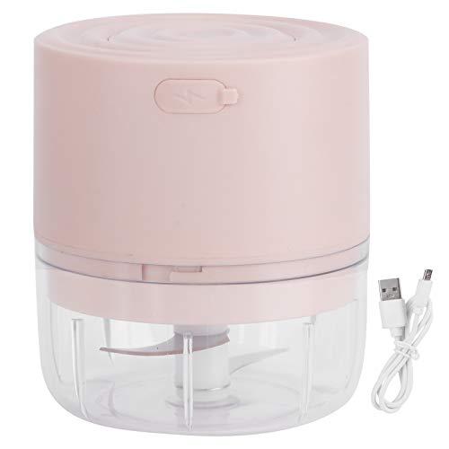 Mini picadora de ajo eléctrica cortadora de ajo trituradora de ajo, mini picadora de ajo eléctrica inalámbrica trituradora de carne picadora de alimentos carga USB(rosa1)