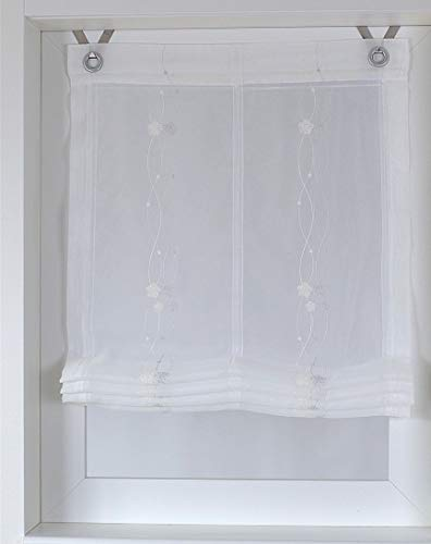 Kutti Raffrollo Ösenrollo Bailey Weiss transparent Voile - Stickerei - 80 * Höhe 120 cm