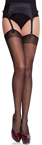 Merry Style Medias Finas Transparentes Autoadhesivas Lencería sexy Mujer MS 226 15 DEN (Negro, M-L)