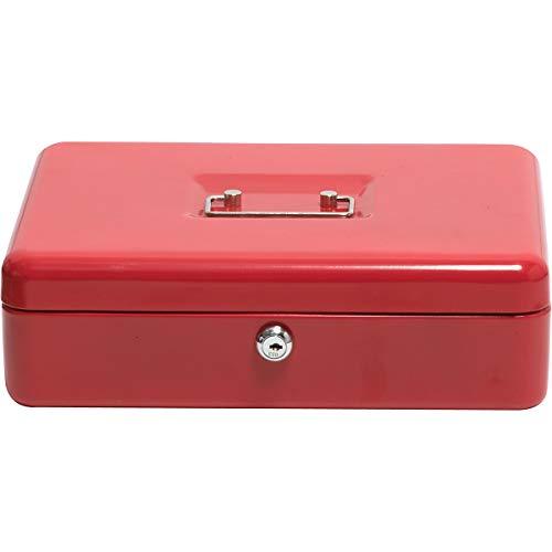 Newpo cassette de dinero | Rojo 90 x 300 x 240 mm | Caja registradora caja de monedas inserto caja de efectivo mercado de pulgas bloqueable