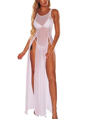 CORAFRITZ Vestido de playa sexy de color sólido para mujer, cuello redondo, sin mangas, suave, suelto, dividido, vestido largo