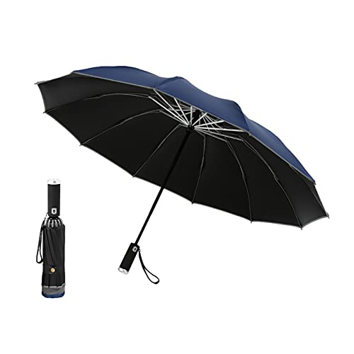 JIETAOMY Ombrello Pieghevole Ombrello invertito Ombrello con creatività GUIDATO Torcia Leggera 10 costolette per ombrelli Maniglia Ombrello Automatico (Color : Blue)
