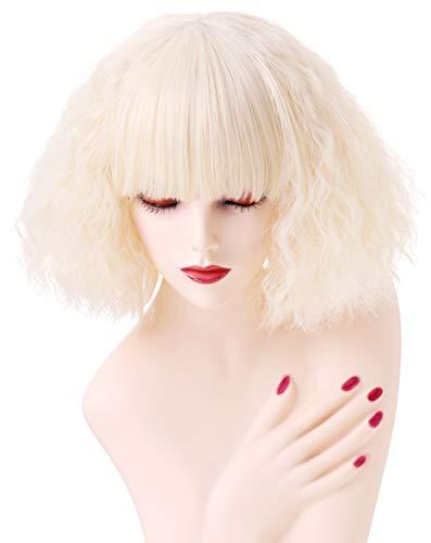 Kurze Corn Curly gewellte blonde Perücken für Frauen Halloween Cosplay Party Perücke mit Pony(EINWEG)