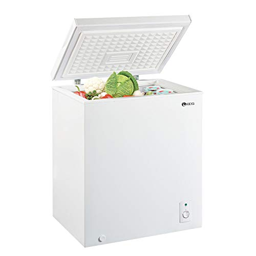 KEG 5.0 Cubic Feet Top Chest Freezer with Adjustable Thermostat and Removable Storage Basket, Freezing Machine for Home and Kitchen (5 cu ft)