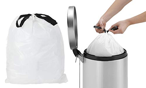 APQ 45 Gallon Drawstring Clear Liners 36.5 x 44.5. Thick 1 mil, Pack of 25 Low Density Polyethylene Bags 36 1/2 x 44 1/2 Side Sealed Unprinted Poly Bags for Disposing Waste, Schools, Kitchen.