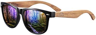 Amexi Holz Sonnenbrillen Polarisierte Sonnenbrille,Herren Damen Polarisierte Sonnenbrille, UV400 Sonnenbrille/Der Rahmen...
