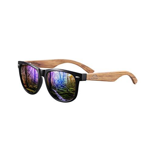 Amexi Sonnenbrille aus Holz für Männer und Frauen, Polarisiert UV400, CAT 3 CE, mit Etui, Stoff und Tasche