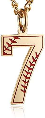 HAMANY Baseball Initial Anhänger Halskette Inspiration Baseball Trikot Nummer 0-9 Charms Edelstahl Halskette (7 - Gold)