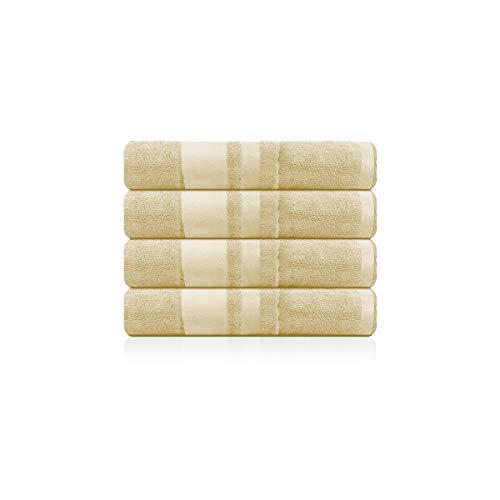 BRANDSLOCK Juego de toallas, toallas de baño, toallas de mano, toallas de baño grandes, 600g/m² de algodón suave, algodón, crema, 4 Hand Towels
