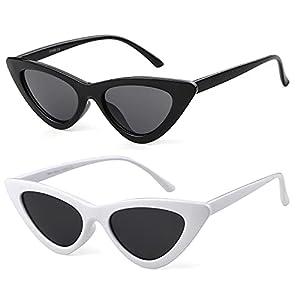 45d7f818b8 Clout Goggles Cat Eye Sunglasses Vintage Mod Style Retro Kurt Cobain  Sunglasses (Black Red(2