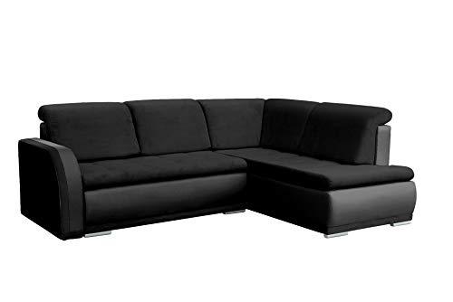 mb-moebel Ecksofa Sofa Eckcouch Couch mit Schlaffunktion und Bettkasten Ottomane L-Form Schlafsofa Bettsofa Polstergarnitur - VERO II (Ecksofa Rechts, Schwarz)