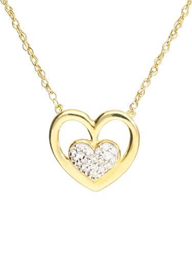 MyGold Halskette Mit Anhänger Gelbgold 750 Gold (18 Karat) Diamant 0,06ct. Kette 45cm Herz 12mm x 12mm Herzform Herzkette Diamantkette Goldkette Madia V0013540