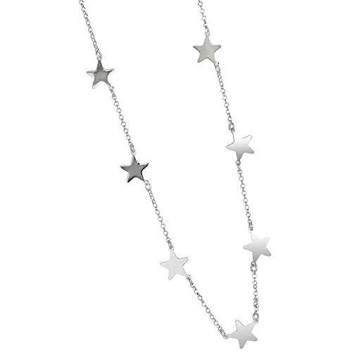 Collana donna stelle in acciaio misura da 40 a 60 cm colore argento Lavorata a mano Made in Italy