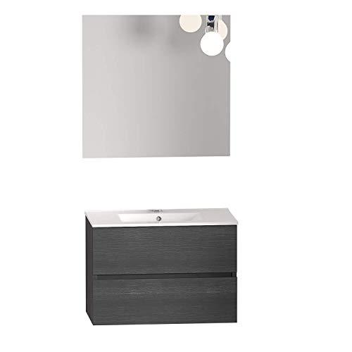 Baikal 280034148 Mobili da bagno con due cassetti, modulo lavabo sospeso, in melammina, 16 mm, cenere, 80 x 55 x 46 cm