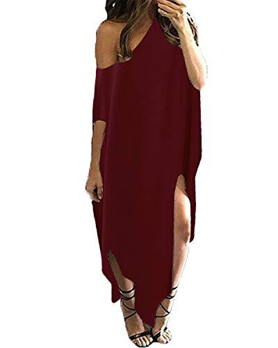 Kidsform Women Off Shoulder Maxi Dress Striped Casual Loose Kaftan Oversized Beach Cover Up Round Neck Sundress Wine Red 2XL