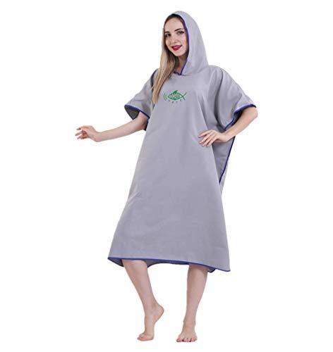 JameStyle26 Poncho de baño de microfibra, secado rápido, unisex, albornoz con capucha, toalla de ducha, natación, surfing, playa, buceo, moda de baño gris Tallaúnica