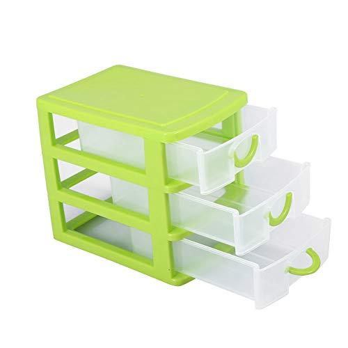 Organizador de gaveta de 2/3 camadas, caixa de armazenamento de mini gaveta de plástico,(3 layers of green)