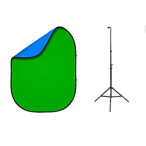 fovitec–1,5m x 2m Grün/Blau Doppelseitig tragbar Pop Up Studio Hintergrund und Ständer Kit für Fotografie, Video, Green Screen, Youtube [Ständer + Fall enthalten]