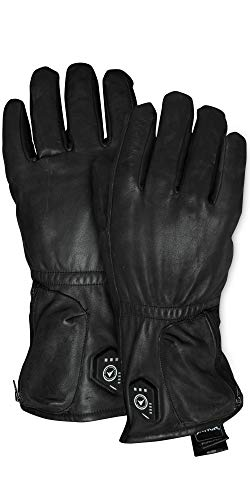 FNDN Full-Leather Heated 3.7V Premium Work Gloves - Water-Resistant Heated Gloves w Rechargeable Battery Ideal for Skiing, Fishing, Camping, Cold Weather, Hunting (XL)
